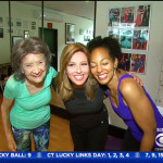 97-year-old yoga master Tao Porchon-Lynch, CBS News host Mary Calvi and Teresa Kay-Aba Kennedy