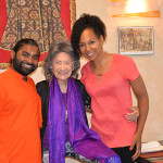 Shwaasaguru Sri Vachananand Swamiji, 97-year-old yoga master Tao Porchon-Lynch and Teresa Kay-Aba Kennedy in New York - July 14, 2016