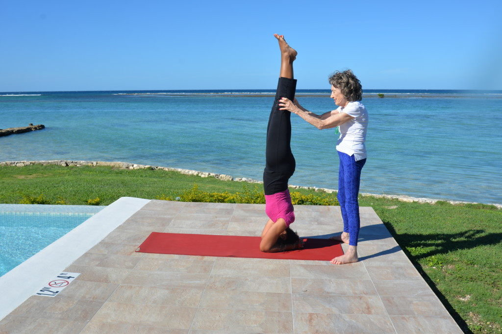 Teresa Kay-Aba Kennedy and 97-year-old yoga master Tao Porchon-Lynch in Montego Bay, Jamaica - December 2014