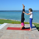 Teresa Kay-Aba Kennedy and 97-year-old yoga master Tao Porchon-Lynch in Montego Bay, Jamaica