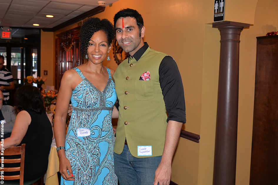 Teresa Kay-Aba Kennedy and Sandip Soparrkar at the 98th Birthday party for yoga master Tao Porchon-Lynch - August 7, 2016