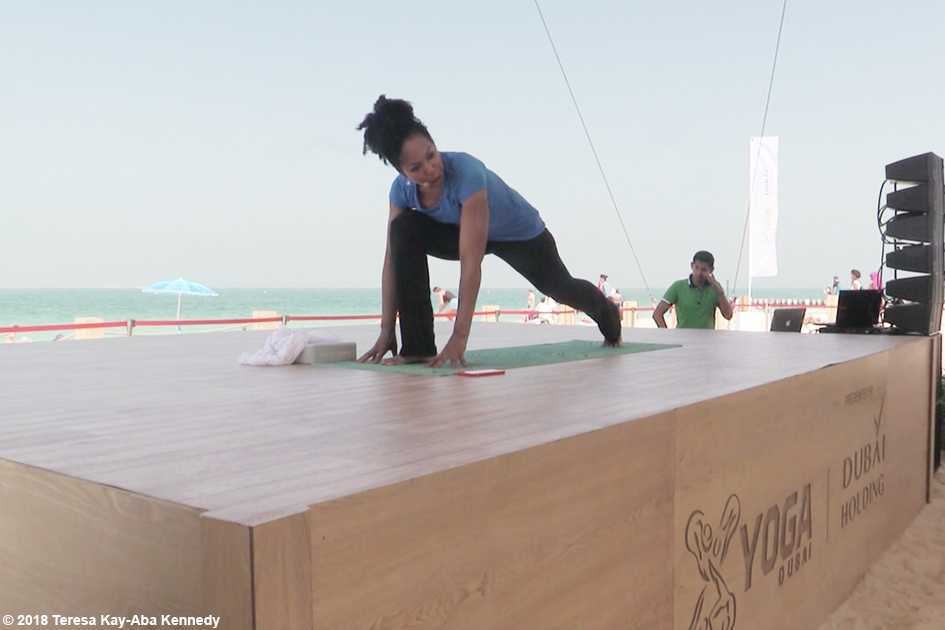Teresa Kay-Aba Kennedy teaching yoga at the XYoga Dubai Festival 2018 - March 16, 2018