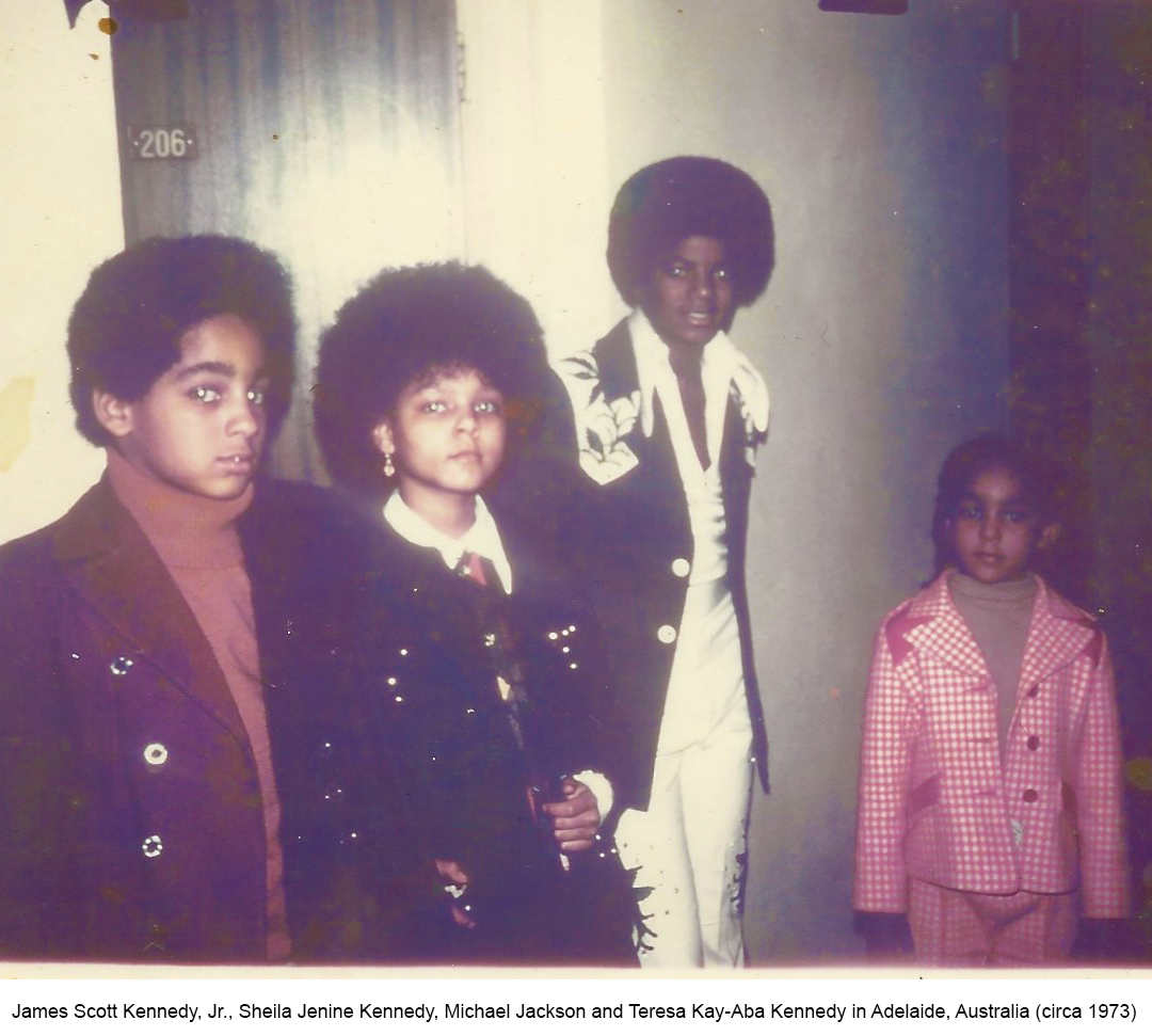 James Scott Kennedy Jr., Sheila Jenine Kennedy, Michael Jackson and Teresa Kay-Aba Kennedy in Adelaide, Australia - 1973